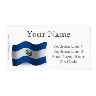 El Salvador Waving Flag Shipping Label