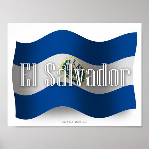El Salvador Waving Flag Poster