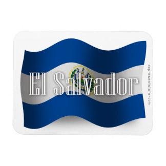 El Salvador Waving Flag Vinyl Magnets