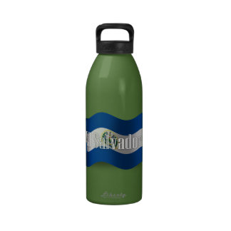 El Salvador Waving Flag Water Bottle