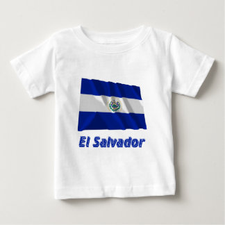 El Salvador Waving Flag with Name Baby T-Shirt