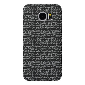 el Tango Script Phone Case, Gray on Black Samsung Galaxy S6 Cases
