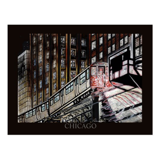 El Train Chicago Randsom Art Postcard