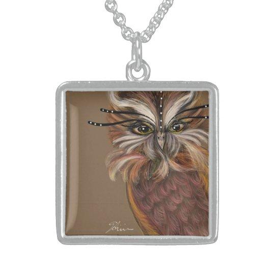 EL VIGILANTE, Brown OWL Sterling Silver Necklace