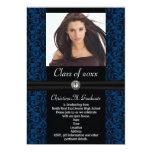 Elaborate Blue Black Damask Graduation Personalized Announcement