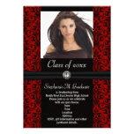Elaborate Dark Red Black Damask Graduation Personalised Invitations