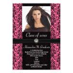 Elaborate Pink Black Damask Graduation Custom Invites