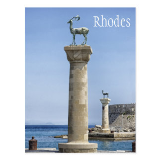 Elafos and Elafina, Entrance to Rhodes, Greece Postcard