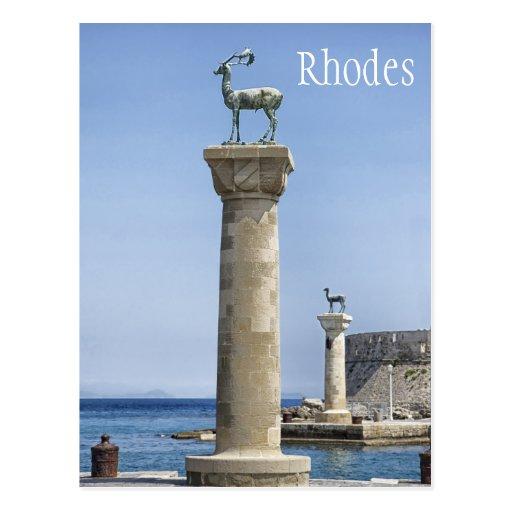 Elafos and Elafina, Entrance to Rhodes, Greece Post Cards