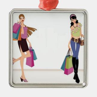 Elagant shopping ladies christmas ornament