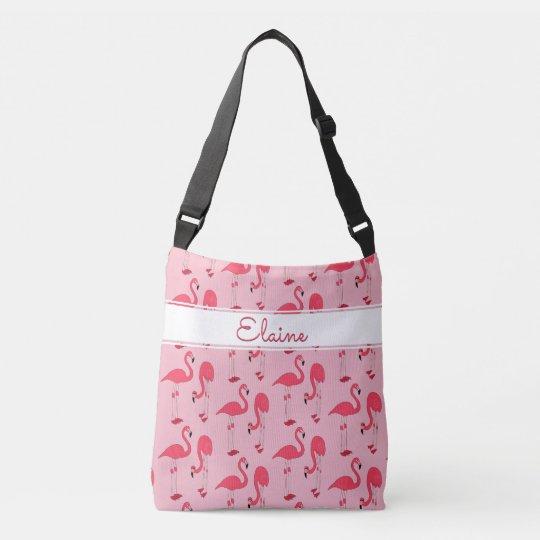 Elaine Pink Flamingos Trendy Novelty Pattern Name Crossbody