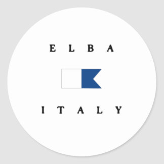Elba Italy Alpha Dive Flag Classic Round Sticker