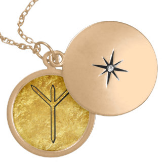 "Elder Futhark Neclace ""Algiz"" Round Locket Necklace"