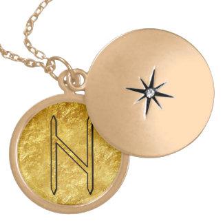 "Elder Futhark Neclace ""Hagalaz"" Round Locket Necklace"