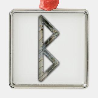 Elder Futhark Rune Beorc Silver-Colored Square Decoration