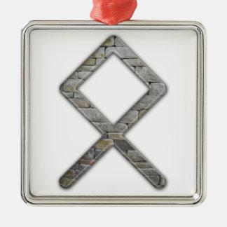 Elder Futhark Rune Odal Silver-Colored Square Decoration