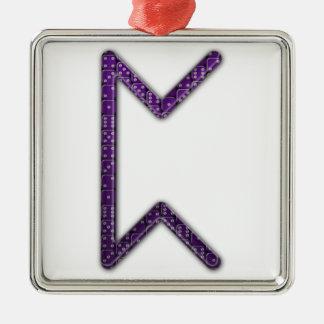 Elder Futhark Rune Peorth Silver-Colored Square Decoration