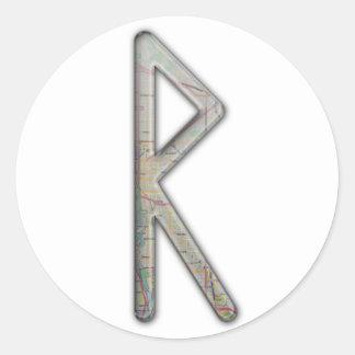 Elder Futhark Rune Rad Round Sticker