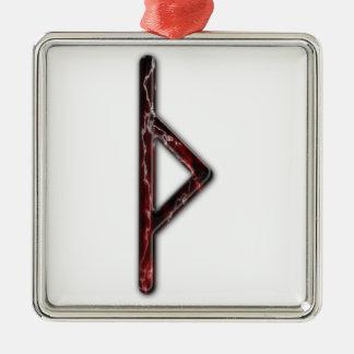 Elder Futhark Rune Thorn Silver-Colored Square Decoration