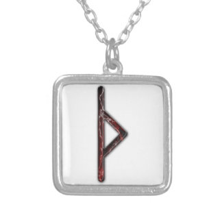 Elder Futhark Rune Thorn Square Pendant Necklace