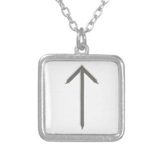 Elder Futhark Rune Tyr Square Pendant Necklace