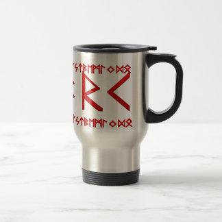 Elder Futhark Runes red Travel Mug