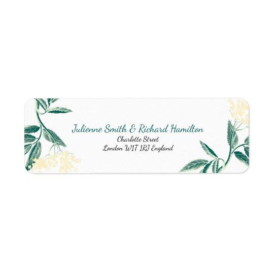 Elderberry flowers   Rustic Wedding Return Address Label