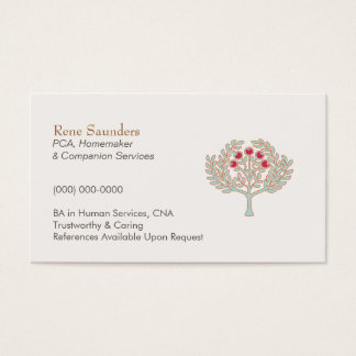 Elderly Care and Companion Services Business Card