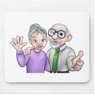 Elderly Cartoon Couple Mouse Pad