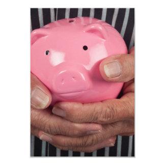 Elderly hand holding piggy bank custom announcements