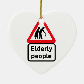 Elderly People (2), Traffic Sign, UK Ceramic Heart Decoration
