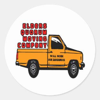 Elders Quorum Moving Company Classic Round Sticker