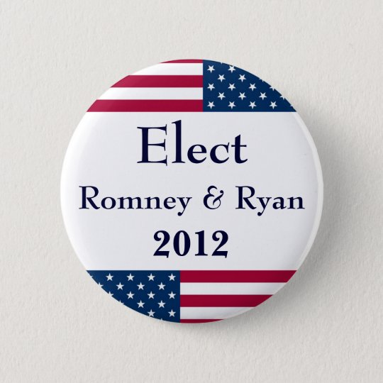 Elect Romney & Ryan 2012-American Flag 6 Cm Round Badge