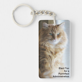 Elect Toc for a Purrrfect Administration Double-Sided Rectangular Acrylic Keychain