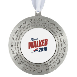 Elect Walker 2016 - Election 2016 Round Pewter Ornament