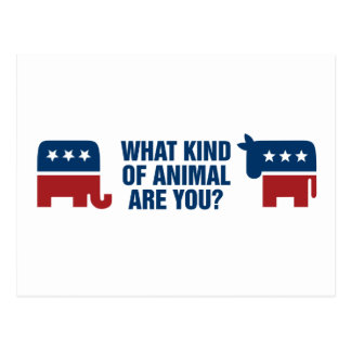 Election animals postcard
