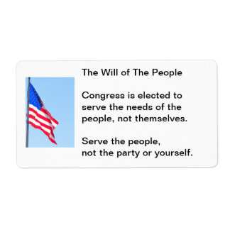 Election stickers: The Will of The People Shipping Label