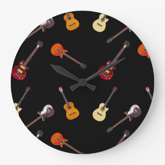 Electric & Acoustic Guitar Collage Clock