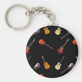 Electric & Acoustic Guitar Collage Key Ring