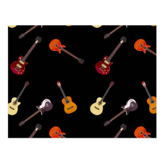 Electric & Acoustic Guitar Collage Postcard