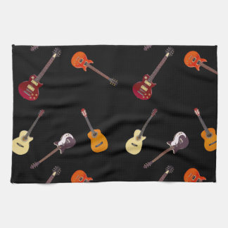 Electric & Acoustic Guitar Collage Tea Towel