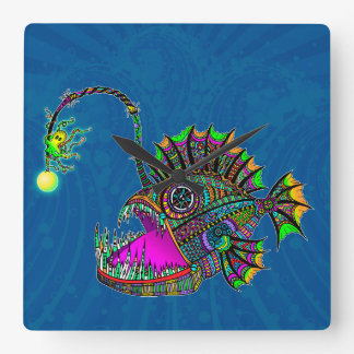 Electric Angler Fish Square Wall Clock