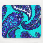 Electric Aqua Blue Indian Paisley Mouse Pad