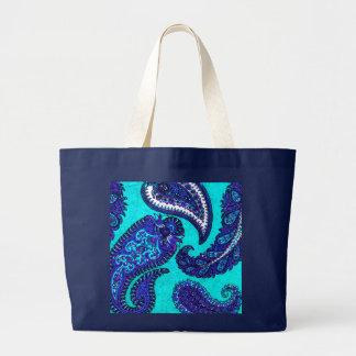 Electric Aqua Indian Paisley Large Tote Bag