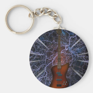Electric Bass Guitar Basic Round Button Key Ring