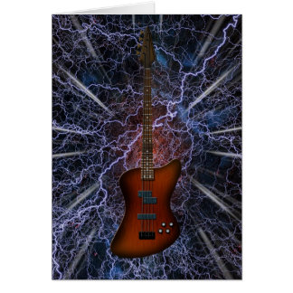 Electric Bass Guitar Greeting Card