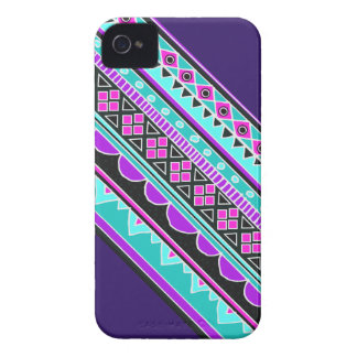 Electric Blue and purple geometric pattern iPhone 4 Case