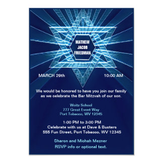 Electric Blue Bar Mitzvah Card