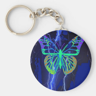 Electric Blue Butterfly Gifts by Sharles Key Ring