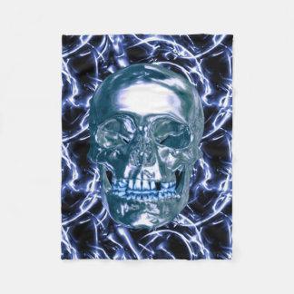 Electric Blue Chrome Skull Fleece Blanket